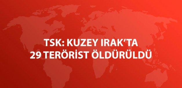 TSK: Kuzey Irak'ta 29 Terörist Öldürüldü
