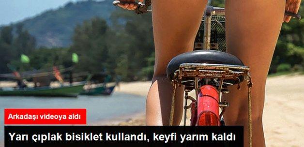 Yarı Çıplak Bisiklet Kullanan Kadın Su Kanalına Düştü
