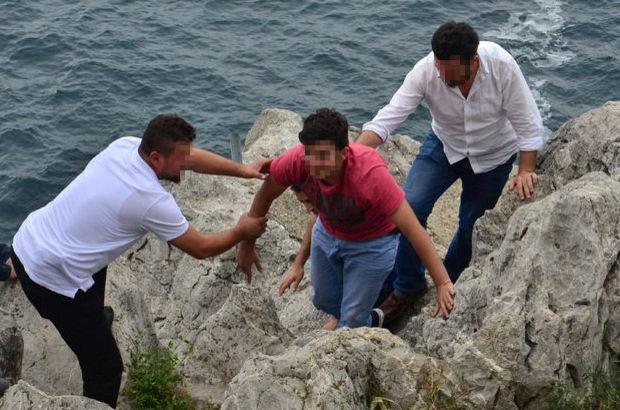 Zonguldak'ta kayalıklarda intihar girişimi