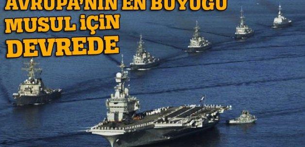 Avrupa'nın en büyük uçak gemisi Musul için devrede
