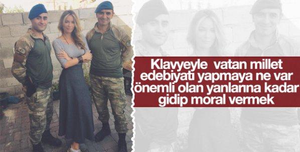 Gamze Özçelik'ten Karkamış sınırındaki askerlere ziyaret