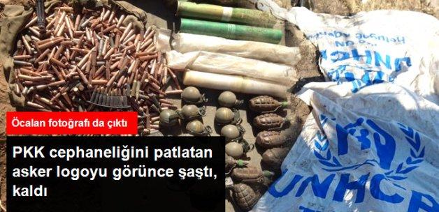 Hakkari'de Teröristlerin Cephaneliği Patlatıldı,.....Logolu Çuvallar Çıktı