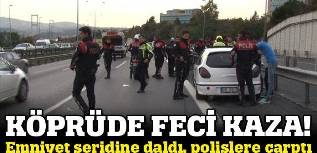 İstanbul'da feci kaza, emniyet şeridine giren araç polisleri biçti