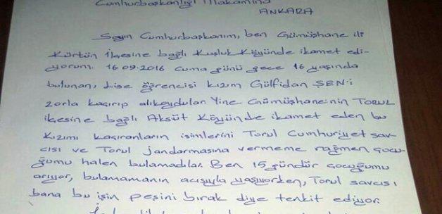 Kaçırılan kızı için Cumhurbaşkanı'na mektup yazdı