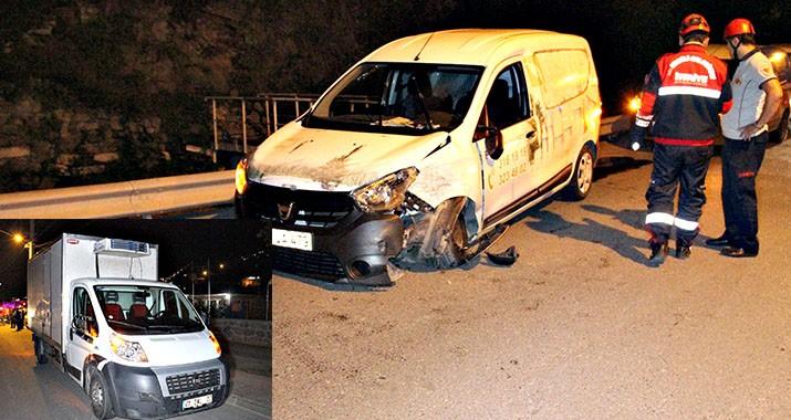 Kamyonet ile hafifi ticari kamyonet çarpıştı: 1 yaralı