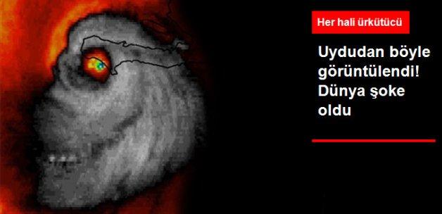 Kasırganın Kurukafa Şeklindeki Görüntüsü Korkuttu