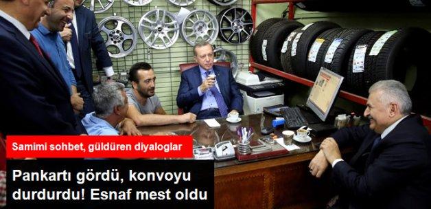Pankartı Gördü, Konvoyu Durdurdu! Erdoğan'dan Esnafa Sürpriz Ziyaret
