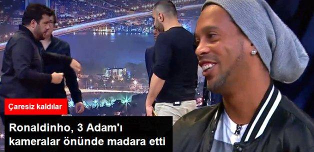 Efsane Futbolcu Ronaldinho '3 Adam'ı Masa Futbolunda Dumura Uğrattı