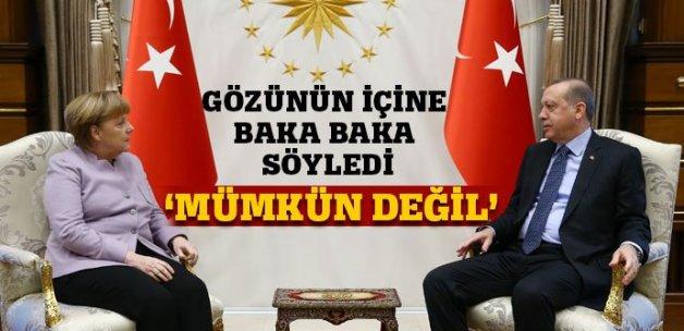 Erdoğan'dan Merkel'e ders: Asla kabul edemem!