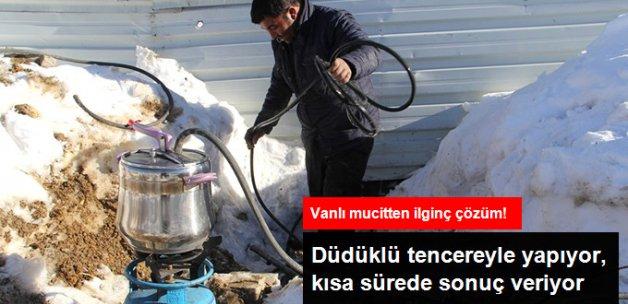 Van'da Donan Su Borularına Düdüklü Tencereli Çözüm!