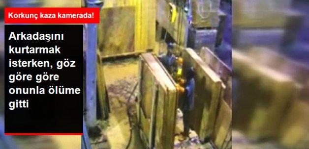 İşçiler Mermer Blokların Arasına Öldüğü Korkunç Kaza Kamerada