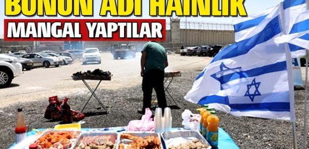 İsrailliler açlık grevi yapılan cezaevinin önünde mangal yaptı
