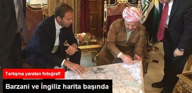 Kuzey Irak'ta Tartışılacak Fotoğraf! İngiliz Yetkililer ve Barzani Harita Üzerinde Çalıştı