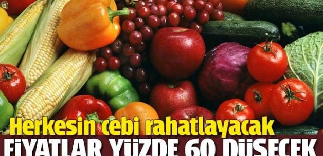 Sebze-meyve fiyatı yüzde 60 düşecek
