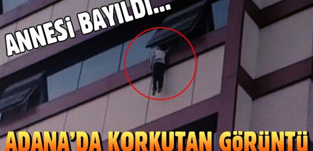 5. kattan düşmek üzere olan çocuk son anda kurtarıldı