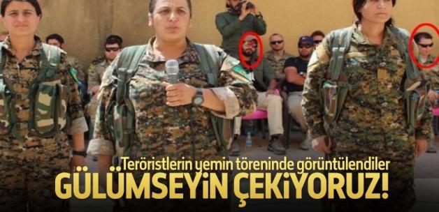 ABD'li askerler YPG'li teröristlerin yemin töreninde