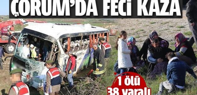 Çorum'da yolcu otobüsü devrildi: 1 ölü 38 yaralı