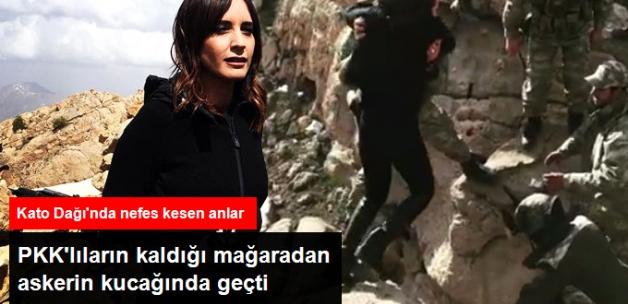 Nazlı Çelik, Teröristlerin Kaldığı Mağaradan Karşıya Askerin Kucağında Geçti