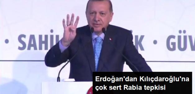 """Erdoğan'dan, Rabia İçin """"Terör Örgütü İşareti"""" Diyen Kılıçdaroğlu'na Sert Yanıt"""