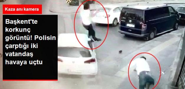 Polis, Kaldırımda Yürüyen İki Vatandaşa Çarptı! Havaya Fırlayıp Yere Düştüler