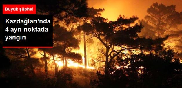 Kazdağları'nda 4 Ayrı Noktada Orman Yangını! Kundaklama Şüphesi Var