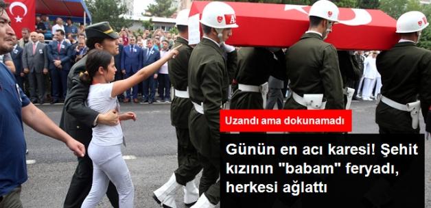"""Şehit Astsubay Gedik'e Son Veda! Şehit Kızının """"Babam"""" Feryadı, Herkesi Ağlattı"""