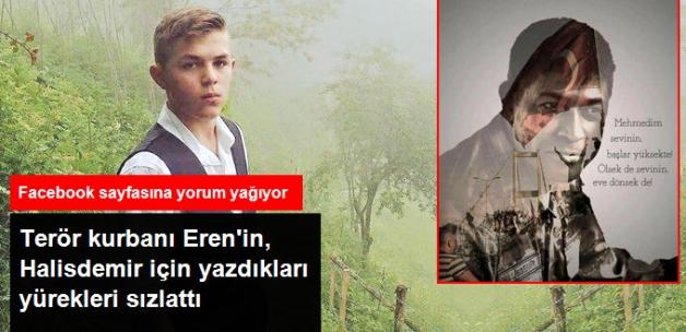 Terör Kurbanı Eren'in, 15 Temmuz Şehidi Halisdemir İçin Yaptığı Paylaşım Yürekleri Sızlattı