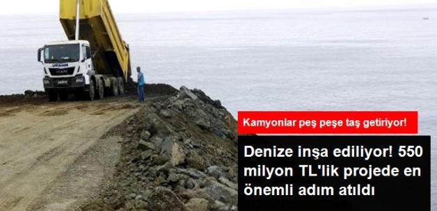 550 Milyon TL'lik Rize-Artvin Havalimanı İçin Deniz Taşlarla Dolduruluyor