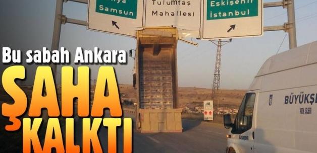 Ankara'da damperi açık kamyon üst geçide çarptı!