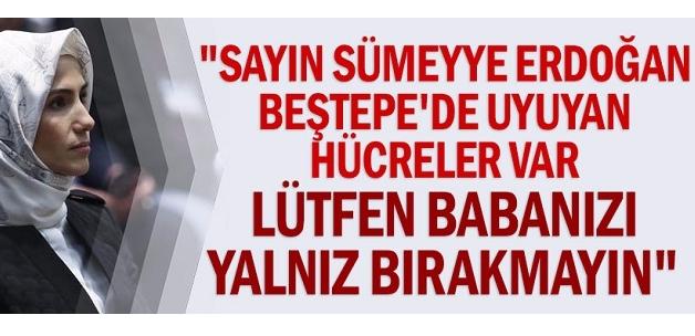 """""""Sayın Sümeyye Erdoğan Beştepe'de uyuyan hücreler var lütfen babanızı yalnız bırakmayın"""""""