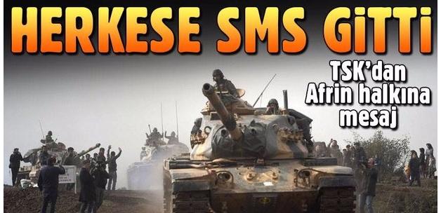 Afrin'de TSK sürprizi! Her telefona bu SMS gitti