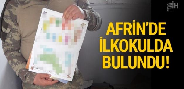 Afrin'de ilkokulda bulundu haritaya dikkat