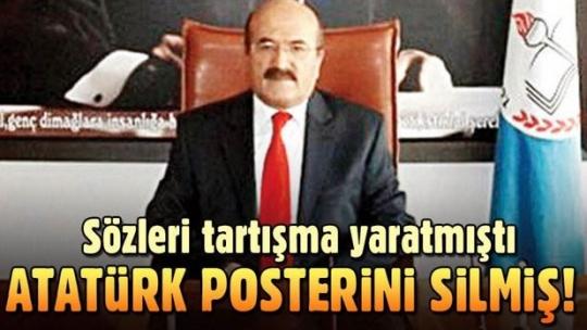 Bartın İl Milli Eğitim Müdürü Yaşar Demir bu kez de Atatürk posterini silmiş
