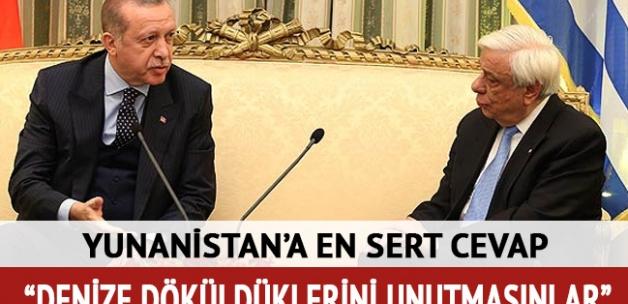 Erdoğan'dan Yunan Cumhurbaşkanı'na cevap: Salamura olmaktan nasıl kurtulduklarını iyi öğrensinler