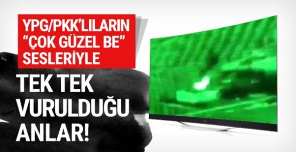 YPG'li teröristlerin tek tek vurulma anı!