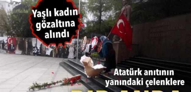 Atatürk anıtındaki HDP ve CHP çelengini parçaladı!