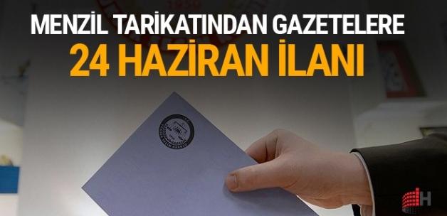 Menzil tarikatından gazetelere 24 Haziran ilanı