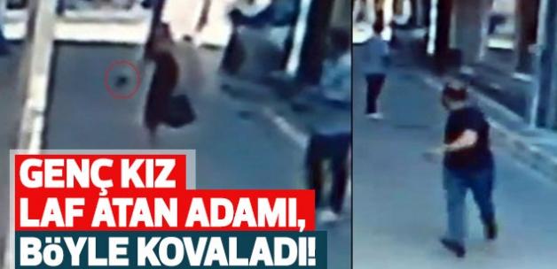 Genç kız kendisine laf atan adamı silahla kovaladı!