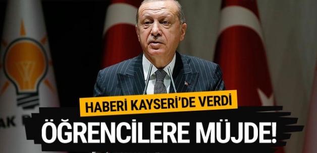 Cumhurbaşkanı Erdoğan öğrencilere müjdesi