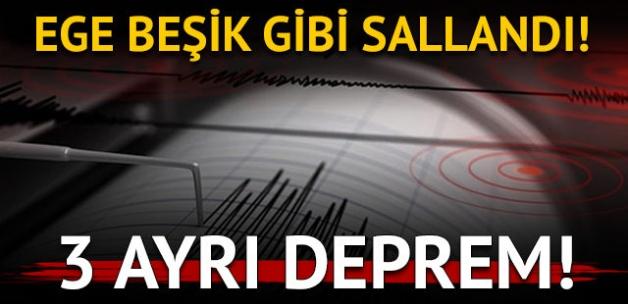 Ege Denizi'nde üç ayrı deprem!