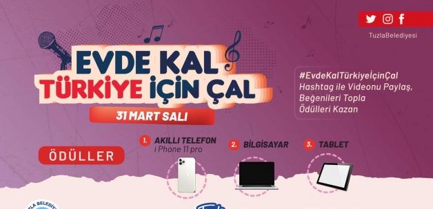 'Evde kal Türkiye için çal' yarışması kazandırıyor