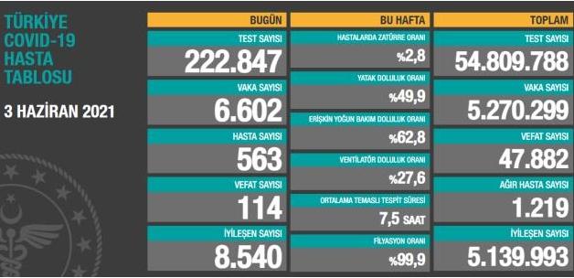Son Dakika: Türkiye'de 3 Haziran günü koronavirüs nedeniyle 114 kişi vefat etti, 6 bin 602 yeni vaka tespit edildi