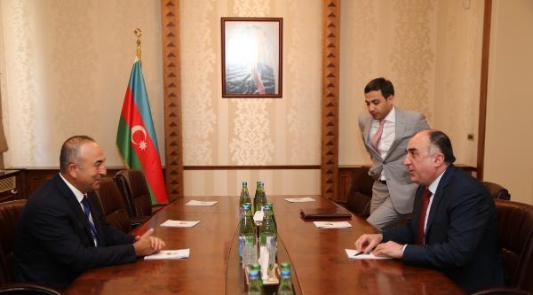 Ab Bakanı Çavuşoğlu, Azerbaycan Cumhurbaşkanı Aliyev İle Görüştü