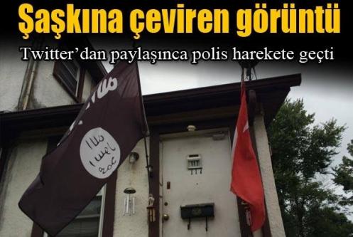 ABD'de bir eve Türk ve IŞİD bayrakları birlikte asıldı
