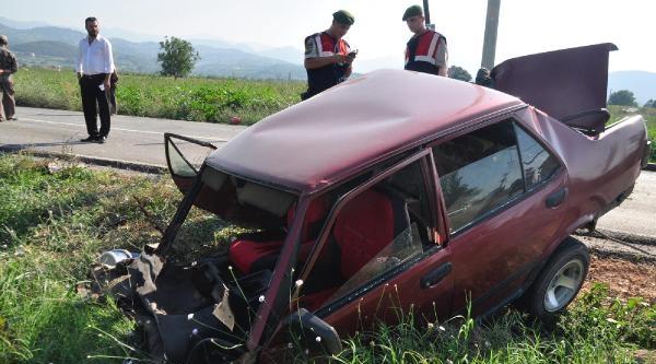 Ağaca Çarpan Otomobil İkiye Bölündü: 3 Yaralı