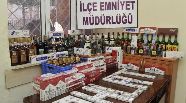 Ahlat'ta Kaçak Içki Ve Sigara Operasyonu