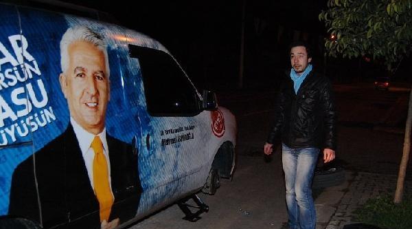 Ak Parti Konvoyundaki 24 Aracın Lastikleri Kesildi