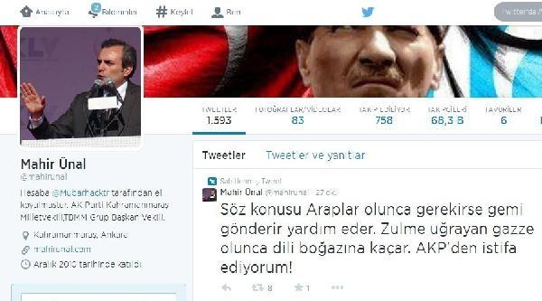 Ak Partili Ünal'in Twitter Hesabı Hacklendi