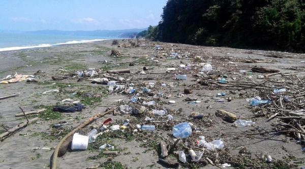 Akçakoca'da Sahil Çöple Kaplandı
