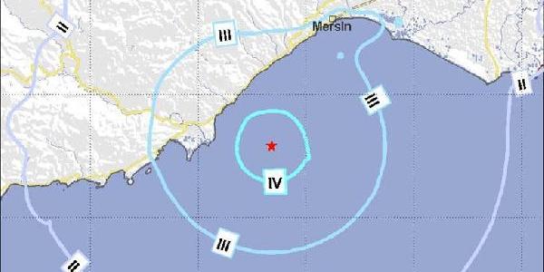 Akdeniz'de 4.5 Büyüklüğünde Deprem Mersin'i Salladi